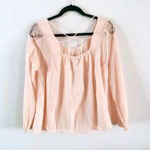 Lucky Brand | Peach Cross Back Peasant Top NWT